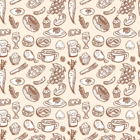 seamless food patternのイラスト素材
