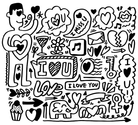 hand draw love element