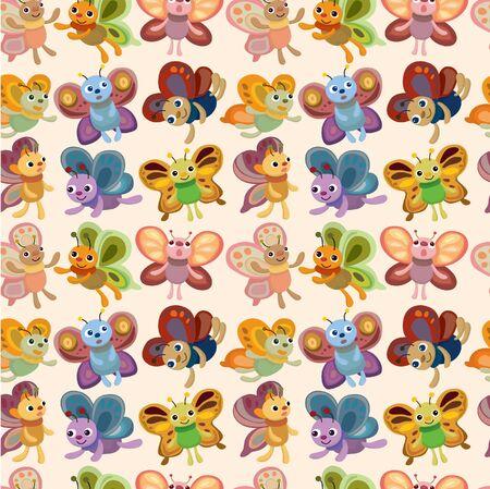 cartoon butterfly icon set seamless pattern