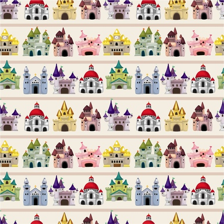 Illustration for cartoon Fairy tale castle seamless pattern - Royalty Free Image