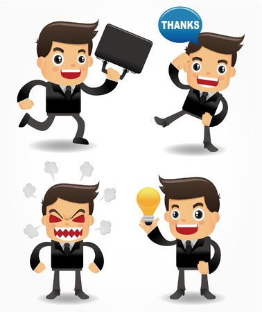 set of funny cartoon office worker