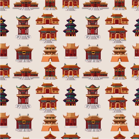 cartoon Chinese house seamless pattern