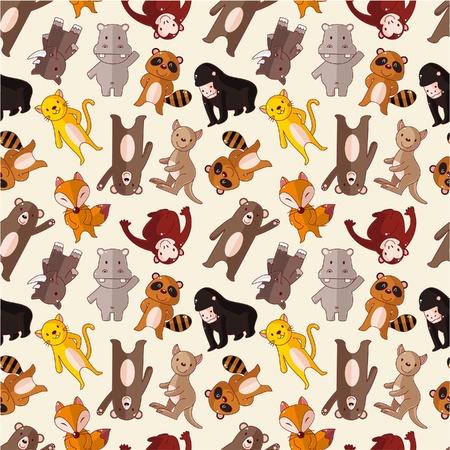 Illustration pour cartoon animal seamless pattern - image libre de droit