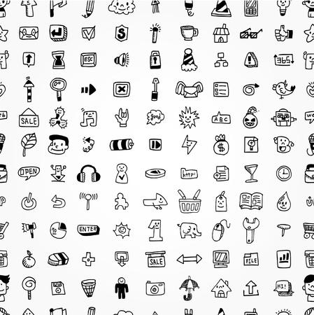 hand draw web icons seamless pattern