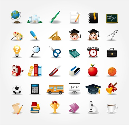Illustration for set of school icons,back to school button - Royalty Free Image