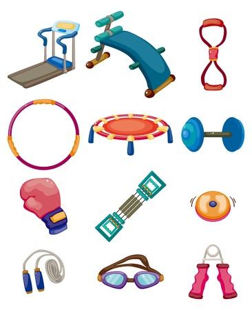 cartoon Fitness Equipment icons
