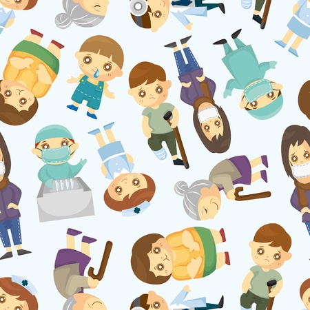 Doctors and Patient people seamless pattern
