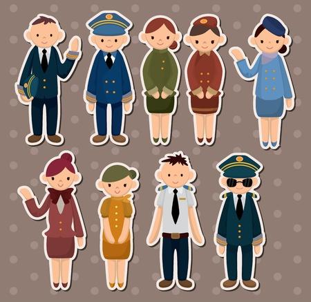 cartoon flight attendant/pilot stickers
