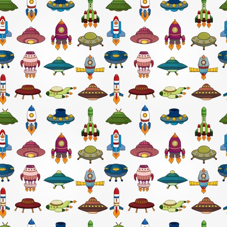 seamless UFO Rocket pattern