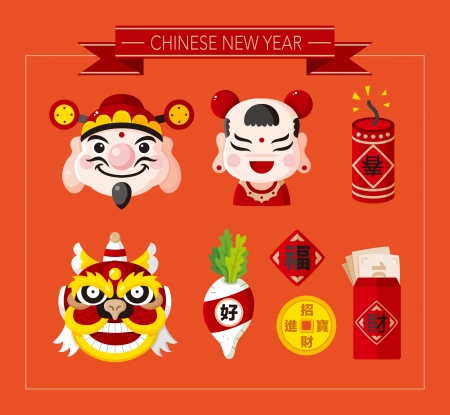 Chinese New Year icons set,Chinese word Happy new year Congratulatio n Spring Blessing ;