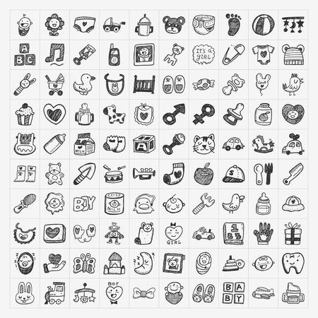 Illustration pour doodle baby icon sets - image libre de droit