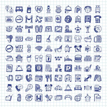 Illustration pour doodle hotel icons - image libre de droit