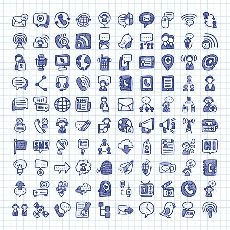Illustration pour doodle communication icons - image libre de droit