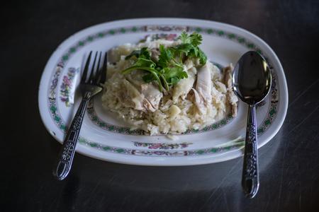 Hainanese chicken rice traditionally dish