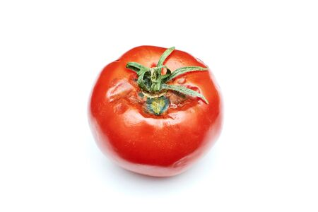 spoiled tomato on white background