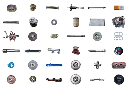 Photo pour Auto spare parts car on the white background. Set with many isolated items for shop or aftermarket - image libre de droit