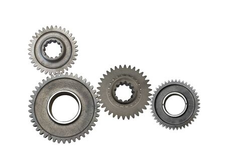 Photo pour Background of three steel gear wheels with cogs but not interlocking and without drive shaft, white background. - image libre de droit