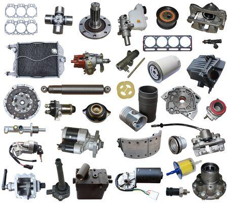 Photo pour Auto parts, vehicle parts, car accessories isolated on a white background. - image libre de droit