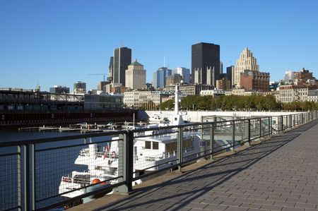 A view of Montreal Downtown from the Old Port