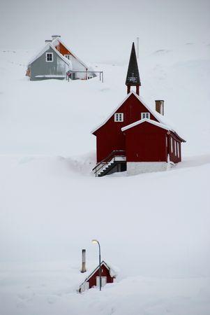 A snowbound inuit village, Tasiilaq, Greenland