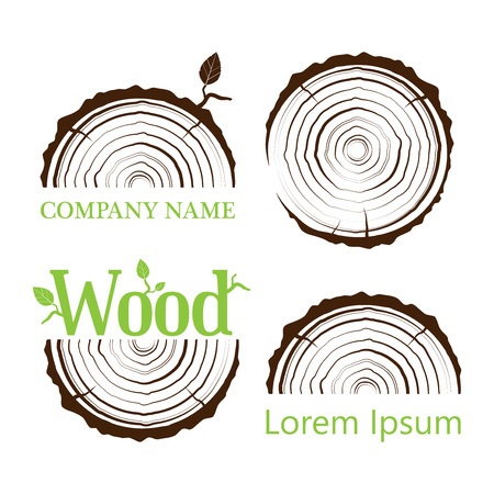 Illustration pour Set a cross section of the trunk with tree rings. Vector illustration. Logo. Tree growth rings. Tree trunk cross-section. flat icon. - image libre de droit