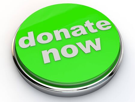 green donate now button with chrome over white Background