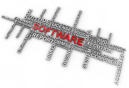 Software word cloud over white background