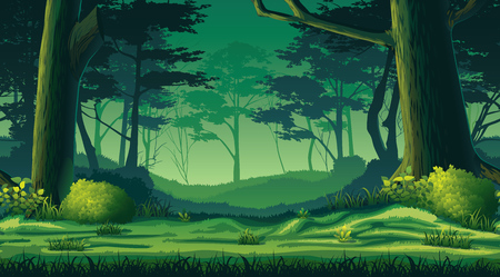 Ilustración de A high quality horizontal seamless background with forest - Imagen libre de derechos