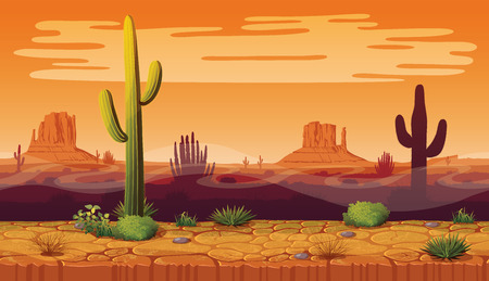 Illustration for A high quality horizontal seamless backgroundof landscape with desert and cactus. Sunset on a background of a mountain landscape. Vector game graphic. - Royalty Free Image