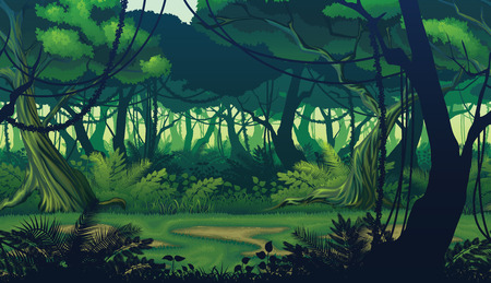 Illustration for A high quality horizontal seamless background of landscape with deep jungle forest. - Royalty Free Image