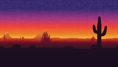 Illustration pour A high quality horizontal seamless background of landscape with desert and cactus. Sunset on a background of a mountain landscape. - image libre de droit