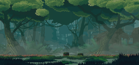 Illustration pour A high quality horizontal background swamp city location. Swampabandoned wooden huts, wooden bridges. For use in developing, prototyping  adventure, side-scrolling games or apps. - image libre de droit