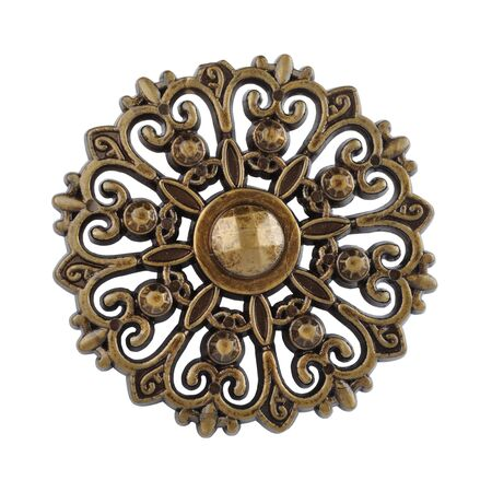 Antique floral wood ornament isolated on white