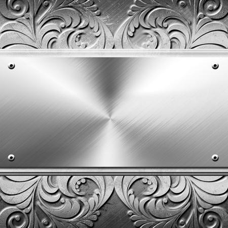 Silver metal plate  With copy space