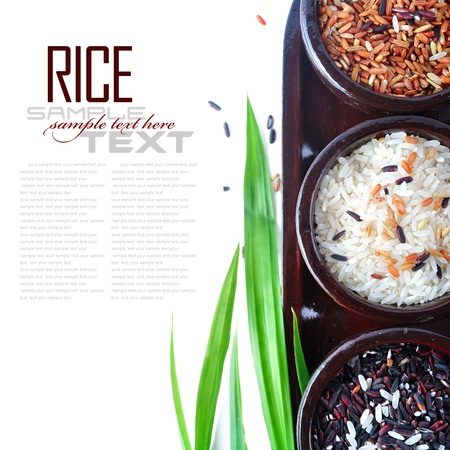 Bowls of uncooked rice over white with sample text