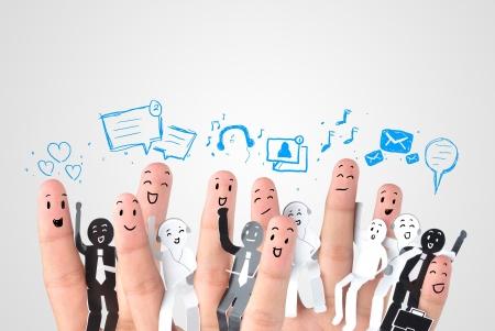 Smiling finger for symbol of business social network
