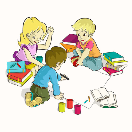 Diligent students doing their homework together  Cartoon vector