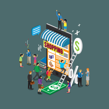Illustrazione per business technology mobile phone for online shop e-commerce - Immagini Royalty Free