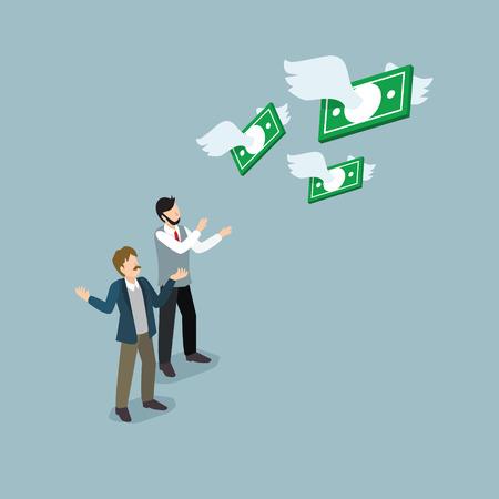 Illustration pour businessman lost their money - image libre de droit
