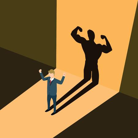 Illustration pour A business man casting shadow an athlete career illustration. - image libre de droit