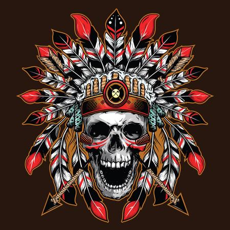 Illustration pour chief skull illustration background for shirt design - image libre de droit