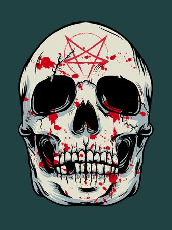 Illustration pour Halloween skull background - image libre de droit
