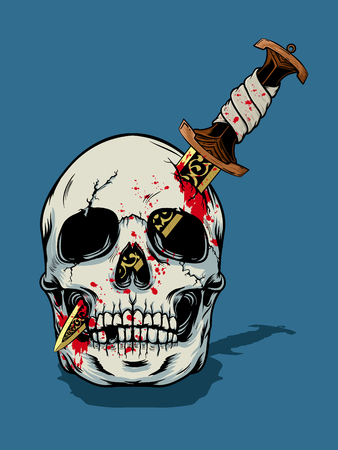 Illustration pour Halloween skull illustration - image libre de droit