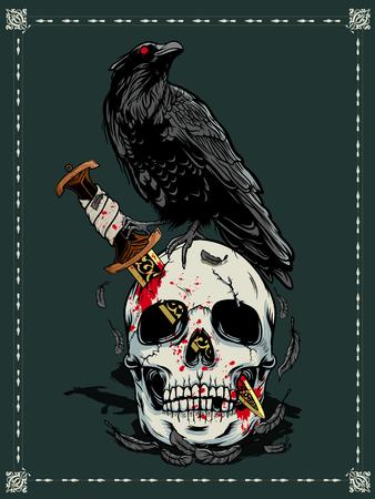 Illustration pour Halloween skull with dark moon illustration - image libre de droit
