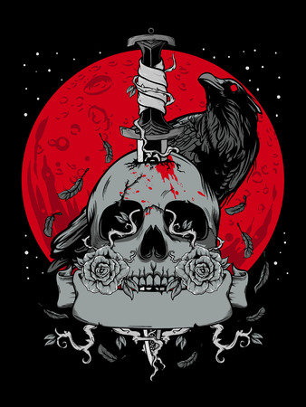 Illustration pour Halloween skull with dark moon and crow illustration - image libre de droit