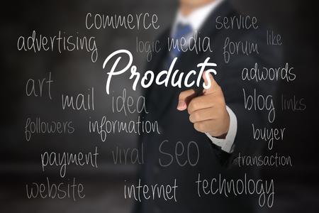 Foto de Business man pointing commerce products options - Imagen libre de derechos