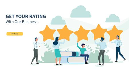 Illustration pour business people looking for rating with flat design and landing page - image libre de droit