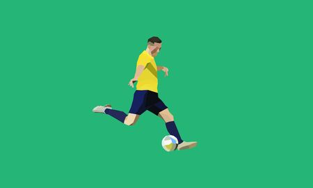 Illustration for Soccer player kick ball. European football player abstract. low poly (polygonal) cencept - Royalty Free Image