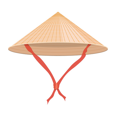 Illustration for Chinese conical straw hat illustration isolated on a white background - Royalty Free Image
