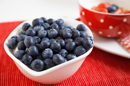 fresh blueberries in ceramic bowl